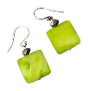 Silpada Green Mother-of-Pearl and Pyrite Earrings on French Wires