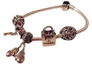 PANDORA Authentic Pandora Bracelet With 925 Sterling Threaded Mittens Key To My Heart And Pandora Bag