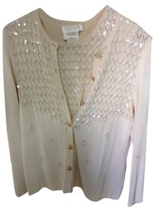 Escada Knit Sequin Twin Set Twinset Blouse Sweater Sweaterset Ivory Offwhite Jumper Jacket Cardigan