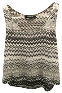 Forever 21 Tribal Striped Zigzag Sheer Top Black & White