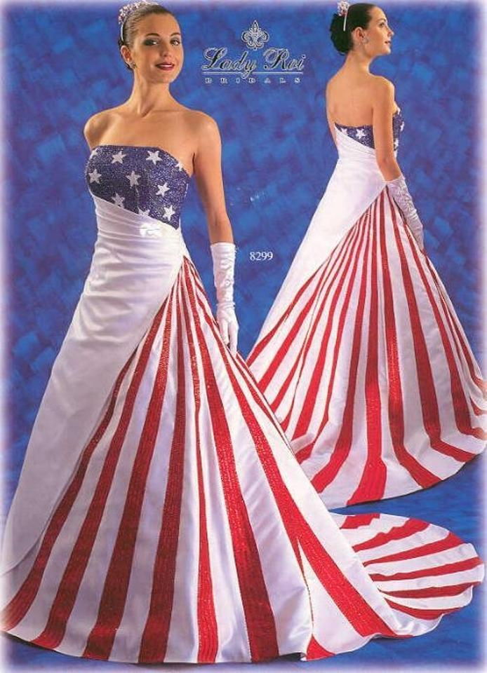Red White and Blue Satin American Flag Casual Wedding Dress Size 10 ...