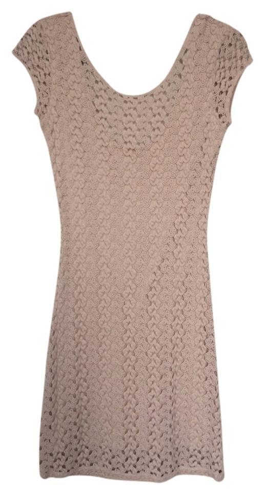 Free People Nude Beige Bodycon Crochet Lace Summer Above Knee Short Casual Dress Size 4 S 61 Off Retail