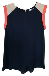 Bar III Sleeveless Color-blocking Tank Top Blue Coral Colorblock