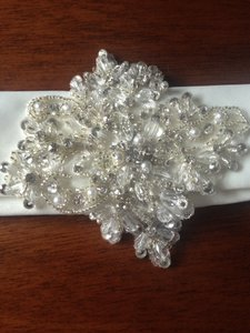 Mori Lee Ivory Belt with Large Diamond Shaped Crystal Pearl and Rhinestone Applique On An Organza Sash