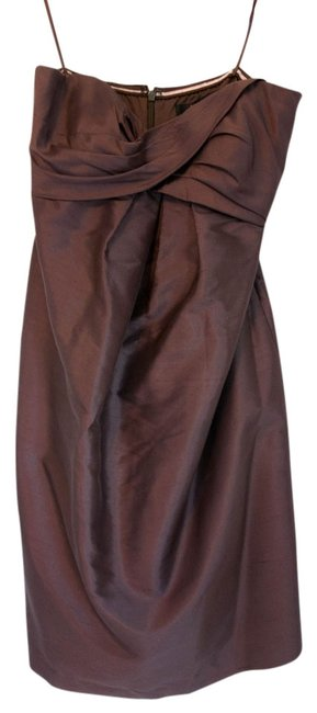 Nicole Miller Strapless Wedding Bridesmaid Twist Zip Silk Padding Dress