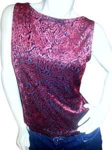 A. Byer Festive Party Velvet Textured Top Red