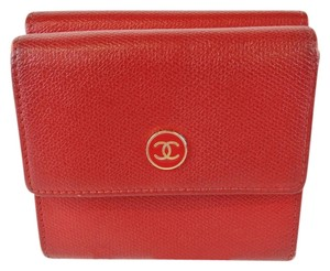 Chanel Chanel Red Textured Leather Double Sided Card Change Organizer Wallet
