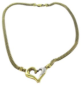 14KT YELLOW GOLD NECKLACE HEART CHAIN PENDANT CHOKER 19 DIAMONDS 15.9DWT LOVE