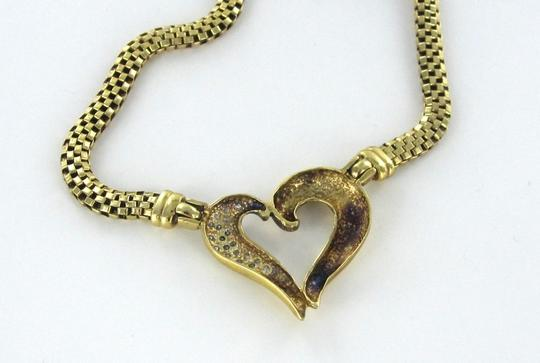 Other 14KT YELLOW GOLD NECKLACE HEART CHAIN PENDANT CHOKER 19 DIAMONDS 15.9DWT LOVE