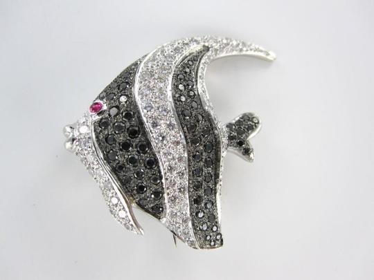 Other 18KT WHITE GOLD 114 DIAMOND REEF ANGEL FISH PIN BROOCH 9.0DWT FINE JEWELRY