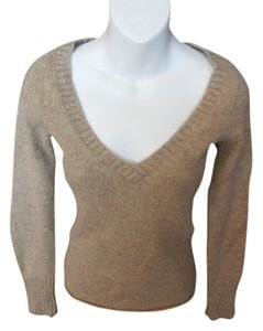 J.Crew Beigh V Neck Gold Threading Wool Blend Sweater