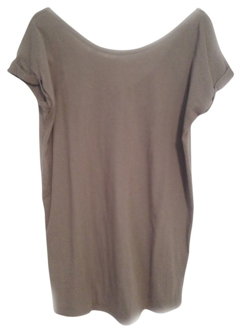Item - Taupe T-shirt Cotton Casual New Tunic Size 8 (M)