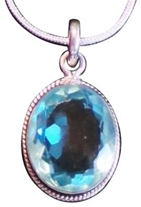 Other 6CT Flawless Blue Topaz 925 Solid Genuine Sterling Silver Pendant Necklace