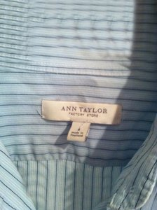 Ann Taylor Pinstripe Business Button Down Shirt Blue