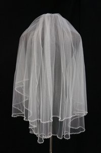 Illusions Bridal Diamond White Double Layer Veil With Beaded Detail