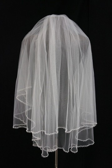Illusions Bridal Diamond White Long Double Layer Hip Length with Beaded Detail On Both Laye Bridal Veil