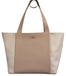 Kate Spade Pxru5718 Pet Smoke Free Neutral Pebbled Leather Tote in Tan and ivory