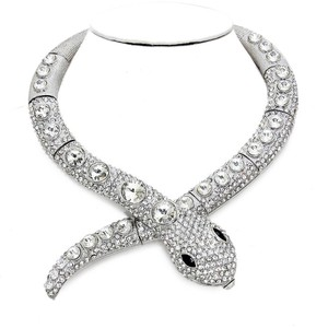 Silver Rhodium Clear Crystal Rhinestone Accent Serpent Snake Python Collar Necklace