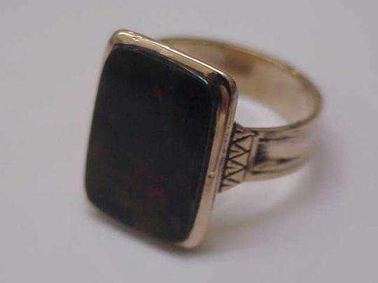 Victorian Mens 12k Gold Genuine Bloodstone Fancy Engraved Ring 1800s