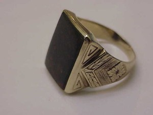 Victorian Antique Mens 14k Gold Ring Genuine Huge Bloodstone Late 1800s
