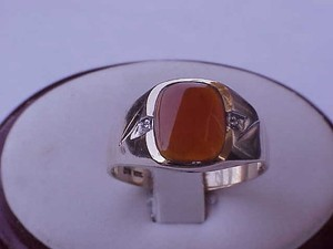 Antique Men's 10k Yellow Gold Genuine Carnelian & Diamonds Ring 1950's