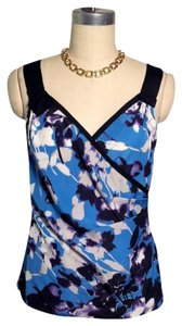 Elie Tahari Top Blue Black Purple White