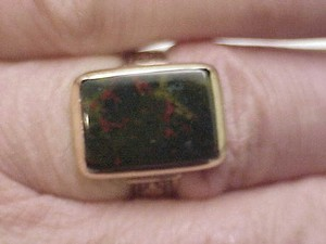 Antique Victorian Unisex 14k Rose Gold Genuine Bloodstone Ring 1800s