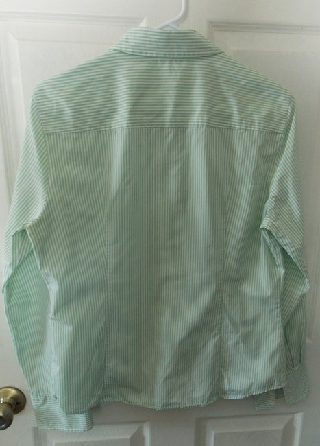 J.Crew Button Down Shirt Green with white stripes and Maroon And White Stripes