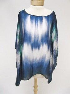 Chicos Blues Green Blurred Top Multi-Color
