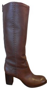 Tory Burch Pebbled Leather Round Toe Logo Exposed Stitching Brown Boots