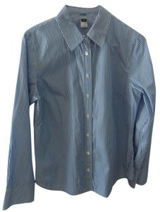 J.Crew Button Down Shirt Blue with white stripes