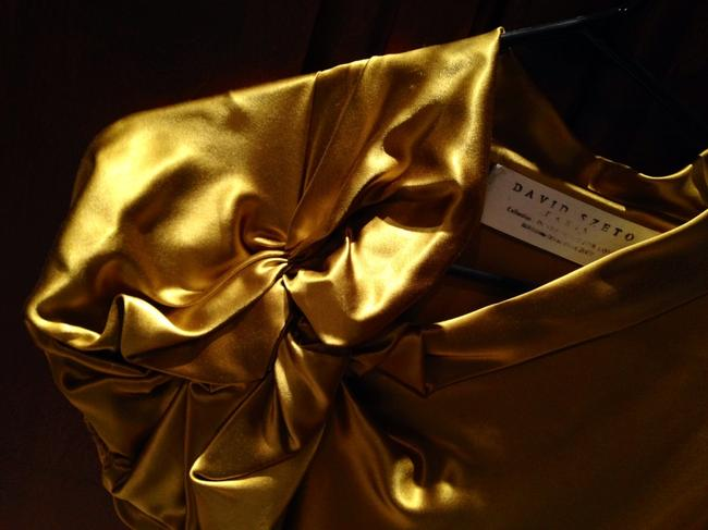 David Szeto Size 36 Classic Party Silk Detail Yellow Gold Top Golden Mustard