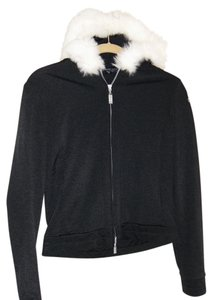 bebe Hood Fur Zipper Logo Jacket