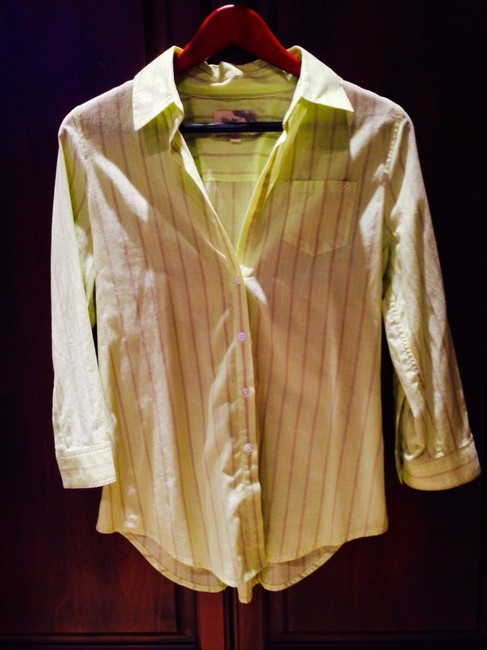 Elizabeth & James Zipper Green Light Pinstripe Bright 3/4 Sleeves Button Cotton Button Down Shirt Lime Yellow Striped
