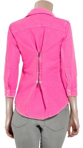 Elizabeth & James Pink Zipper Cotton Buttons Collar 3/4 Sleeves Cuffs Lapel Collar Bright Button Down Shirt Bright Pink