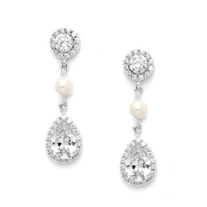 Mariell Cz And Freshwater Pearl Wedding Earrings