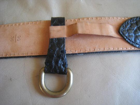 Louis Vuitton RARE Unique Limited Edition Unisex Dark Denim Monogram Black Leather Belt With Brushed Brass Tone Go with Denim Baggy Speedy Jeans