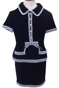 Chanel Chanel Wool Skirt Set with Navy/White Vinyl Trim