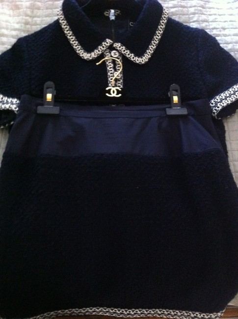 Chanel Chanel Wool Skirt Set with Navy/White Vinyl Trim Image 3