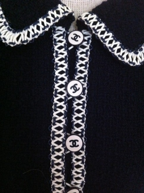 Chanel Chanel Wool Skirt Set with Navy/White Vinyl Trim Image 6
