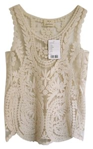 Pins and Needles Embroidered Sheer Scalloped Drape Scoopneck Spring Summer Casual Top Beige
