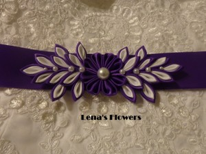 Handmade Satin Bridal Kanzashi Flower Sash. Purple And White