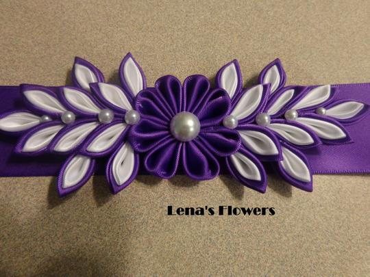 Purple and White Handmade Satin Kanzashi Flower Sash Image 1