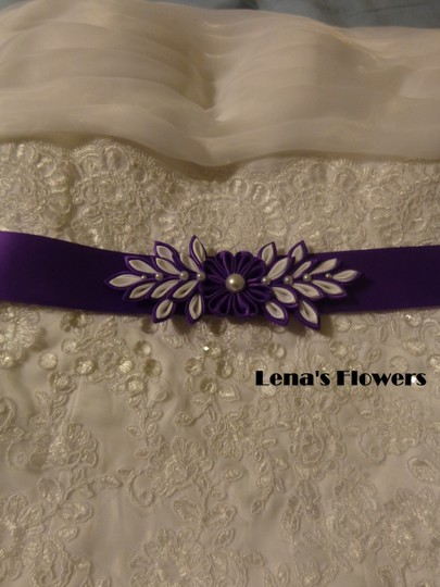 Purple and White Handmade Satin Kanzashi Flower Sash Image 2