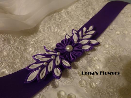 Purple and White Handmade Satin Kanzashi Flower Sash Image 3