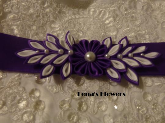 Purple and White Handmade Satin Kanzashi Flower Sash Image 4