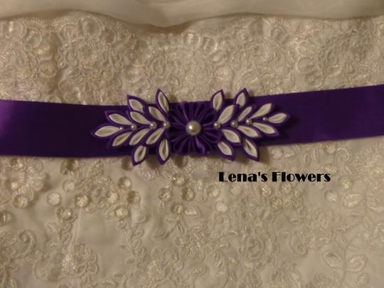 Purple and White Handmade Satin Kanzashi Flower Sash Image 5