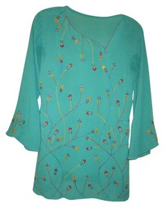 Other Evening Embroidered Rhinestone Accents Top Turquoise