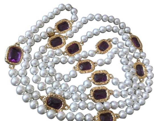 Chanel Extra Long Chanel Pearl with Purple Gripoix Station Sautoir