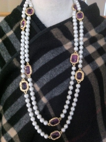 Chanel Extra Long Chanel Pearl with Purple Gripoix Station Sautoir Image 3